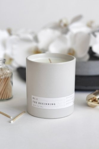 The Beginning candle is elegant, clean and comforting