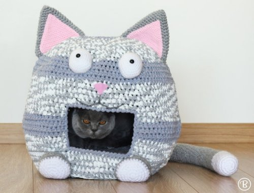 PATTERN: Crochet Cat Bed Cave Kitty Kat House T Shirt Yarn | Etsy
