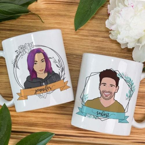 Custom couple portrait mug