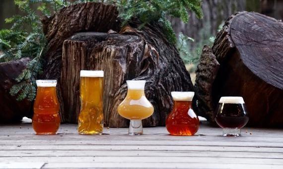 Set of unique beer glassware
