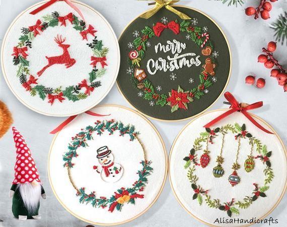 Christmas wreath embroidery kit