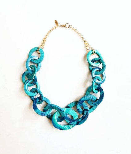 Teal blue chunky statement necklace