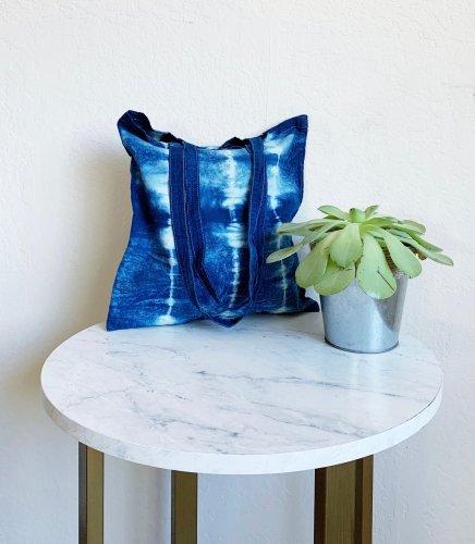 Indigo dyed tote bag
