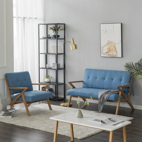 Retro Blue Loveseat Scandinavian Style Double Sofa Solid Wood