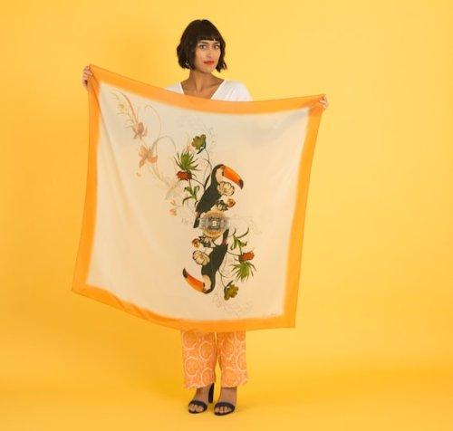 Orange 'Toucan' square silk scarf
