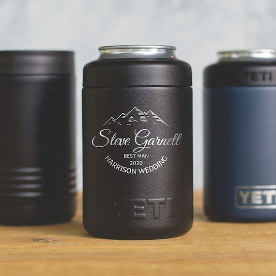Engraved YETI cans to keep beverages chilled