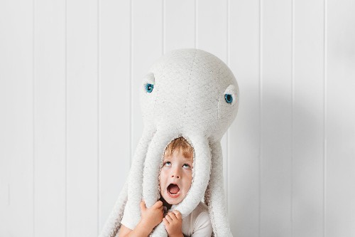 Big albino octopus handmade plush toy