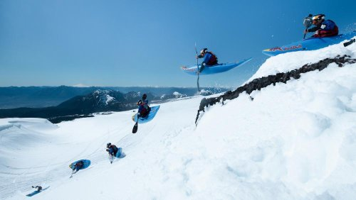 What it's like to kayak down a snowy mountain at 100km/h