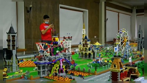 LEGO collector builds miniature toy city with shops and cafes