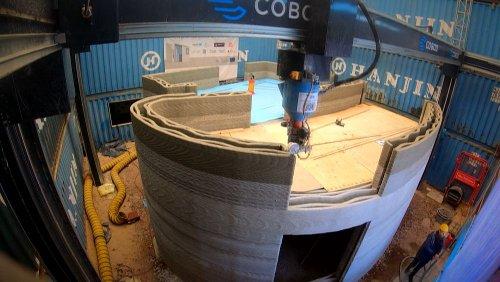 Europe's biggest concrete 3D printer creates the home of tomorrow