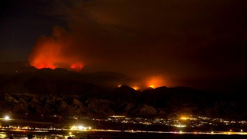 Homes evacuated as Southern California wildfire grows east of Los Angeles