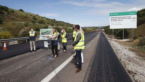Las fotos de la visita de la consejera de Fomento, Marifrán Carazo, a las obras en la A-381