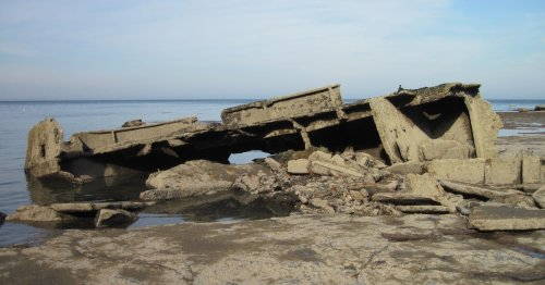 Eerie shipwreck sunken beneath the rocky cliffs of the Yorkshire coast