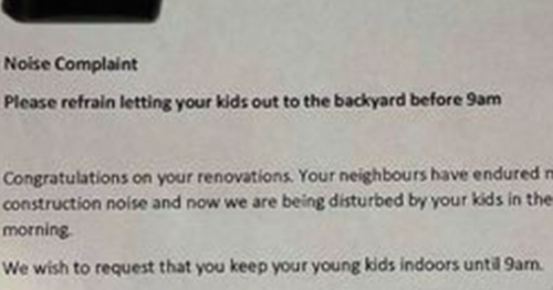 Parents gobsmacked at angry neighbour's note about their noisy kids