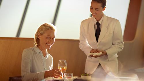 Sampling the new Qantas first class lounge menu