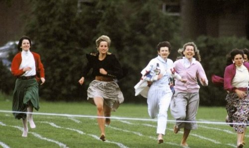 Unearthed pictures show hero mum Princess Diana taking part in Prince Harry's sports day