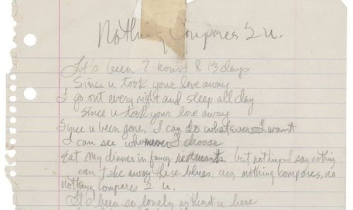 See Prince's beautiful handwritten lyrics for Nothing Compares 2 U - pictures