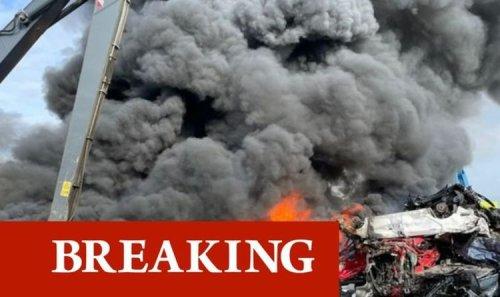 Darlaston fire: 50 firefighters battling blaze as 100 cars engulfed in massive smoke cloud