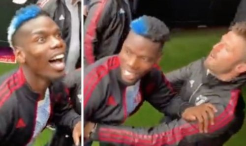 Man Utd star Paul Pogba dragged down tunnel by Michael Carrick after West Ham fan tension