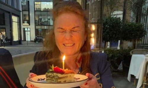 Sarah Ferguson shuts her eyes with glee as she releases private birthday pictures