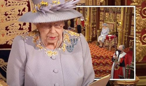 Queen arrives at Parliament - monarch forced to sit alone as Prince Philip throne removed