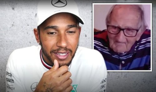Lewis Hamilton's shock reaction as he meets huge 105-year-old fan of his