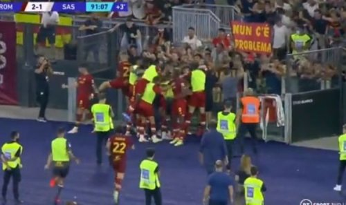 Jose Mourinho sprints down touchline and dives into crowd after Roma score dramatic winner