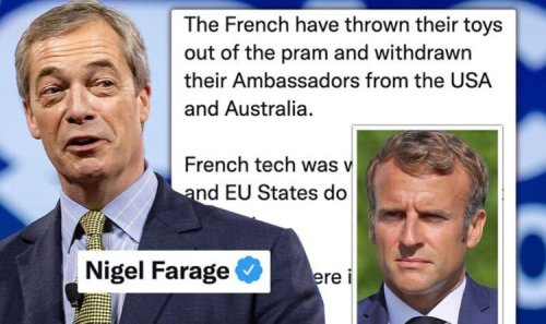 Anglosphere is back they hate it! Farage taunts France as Macron 'throws toys out of pram'