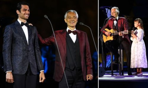 Andrea Bocelli performs with his children Matteo and Virginia in Saudi Arabia world first