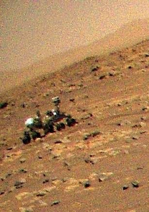 NASA's Ingenuity Helicopter Snaps Aerial Photo of Perseverance Rover