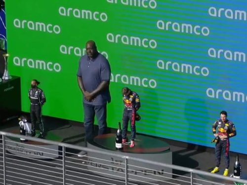 F1 Drivers Looked Really Tiny Next To Shaquille O'Neal On The Podium