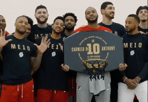 Video: Portland Trail Blazers Surprise Carmelo Anthony To Celebrate Him Reaching 10th On The All-Time Scoring List