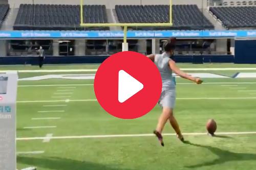 Woman in Dress Kicks 20-Yard Field Goal With Ease