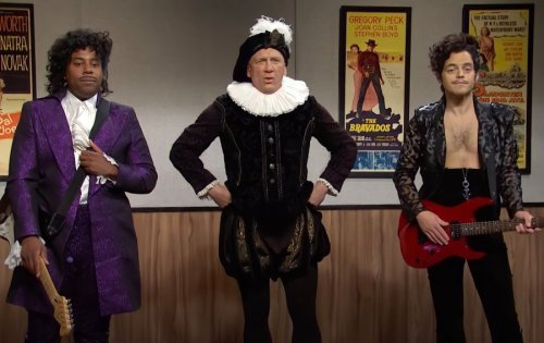 Daniel Craig and Rami Malek appear in a bizzare Prince-inspired sketch on 'SNL'