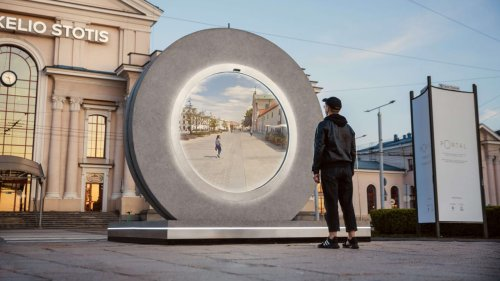 This magical portal connects people across two cities