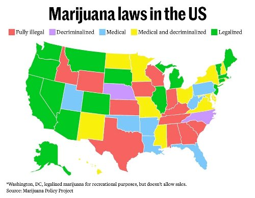 This Map Shows Where You Can Buy Legal Weed Now in the United States