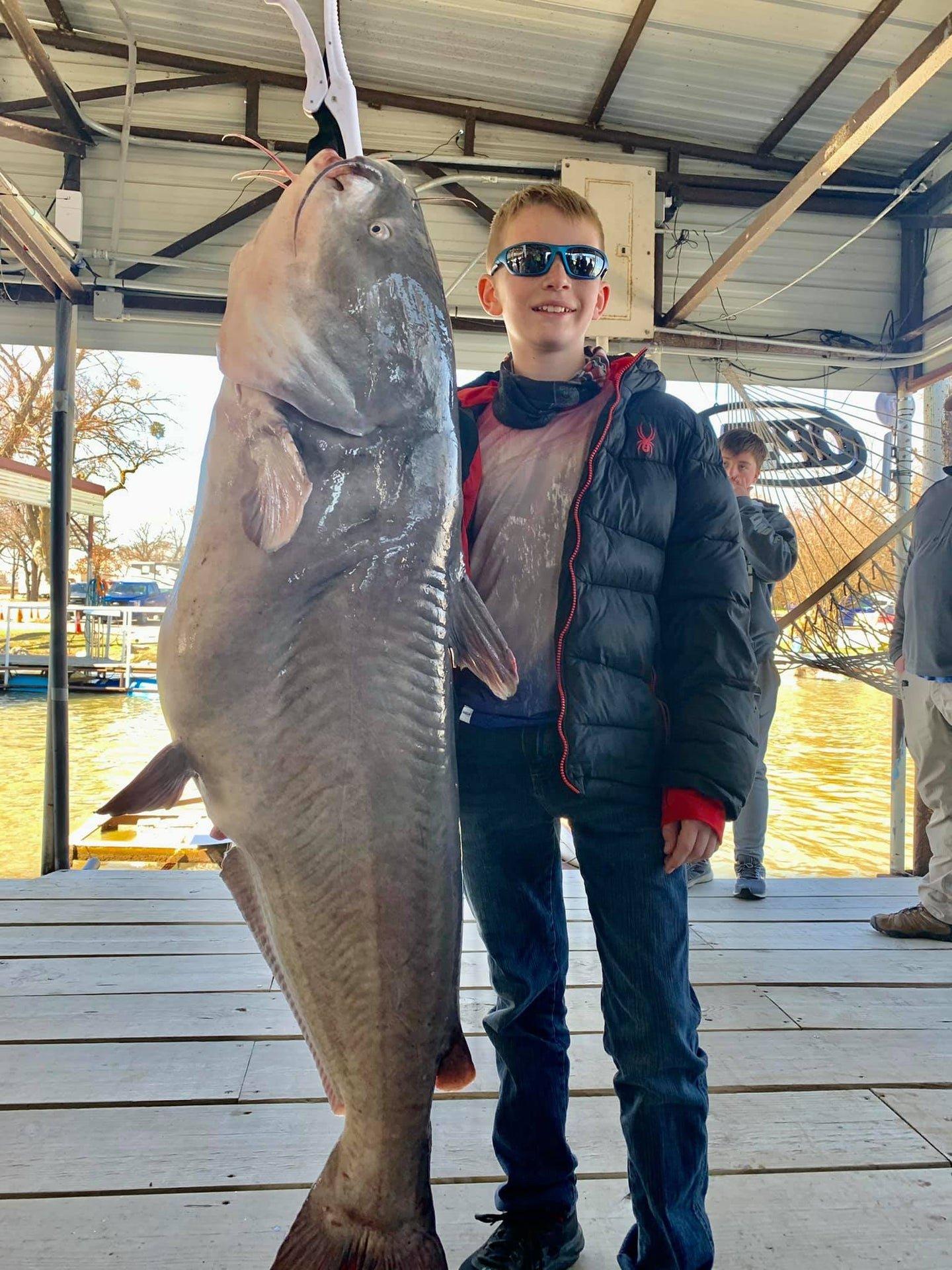 85-Pound Kid Catches 72.4-Pound Catfish—a Pending Texas Record