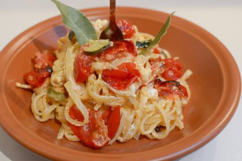 Baked Feta Tomaten Pasta aus dem Ofen
