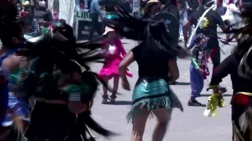 Aztec dancers descend on Mexico City's Zocalo