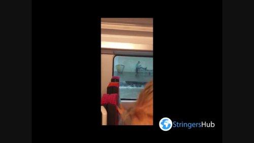France: Train runs through flooded tracks after severe storm hits Île-De-France