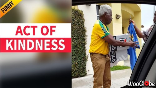 'Act of Kindness - Couple surprises stranger with a shirt and shoes'