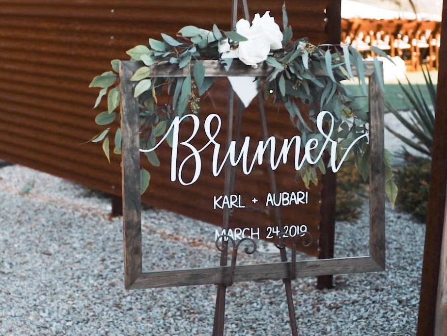 Acrylic wedding sign with wooden frame