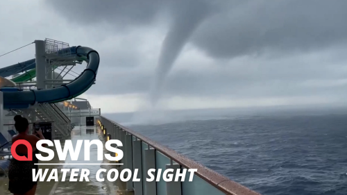 Footage filmed from cruise ship shows HUGE tornado making its way across the Med