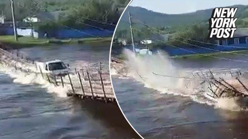 Russian Bridge Collapse Washes Truck Into River