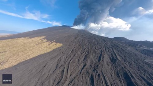 Drone Footage Captures Volcanic Activity at Mount Etna