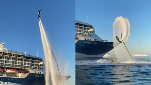 A daredevil flyboarder wowed crowds on-board a cruise ship as he performed STUNTS at sunset (RAW)