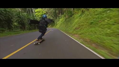 Grim reaper in high-speed downhill longboard run