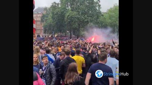 Scottish football fans chanting in London, UK 1