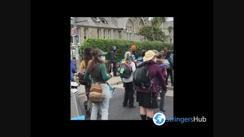 Extinction Rebellion Protesters March in St. Ives, UK