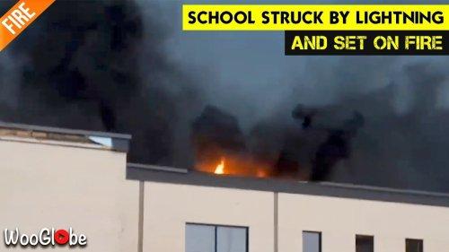 'Mont-Bleu High School on fire after getting struck by lightning (09/21/2018)'